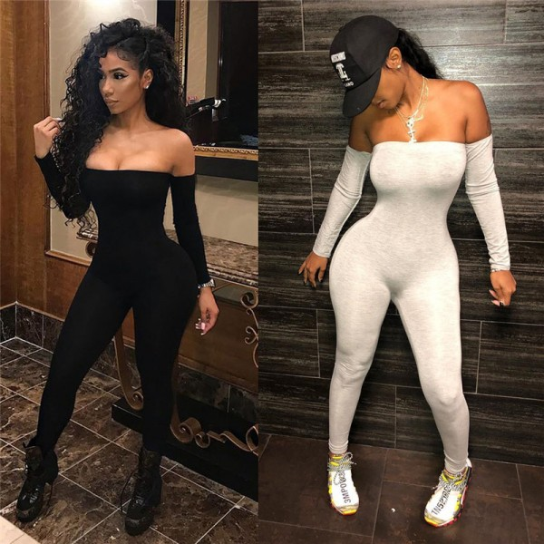Sexy Women Jumpsuits Long Sleeve Off Shoulder Bodycon Playsuit Party Jumpsuit Trousers