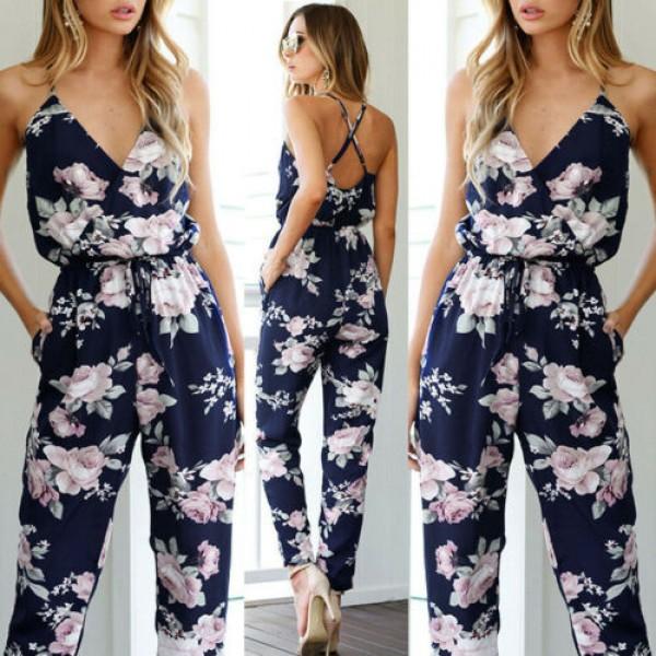 Summer Women Playsuit V Neck Floral Bandge Romper High Waist Long Trousers Pants Clubwear