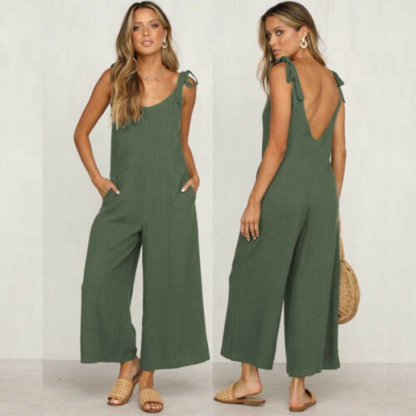 Women Rompers Clothes Loose Linen Jumpsuit Sleeveless Backless Trousers Overalls
