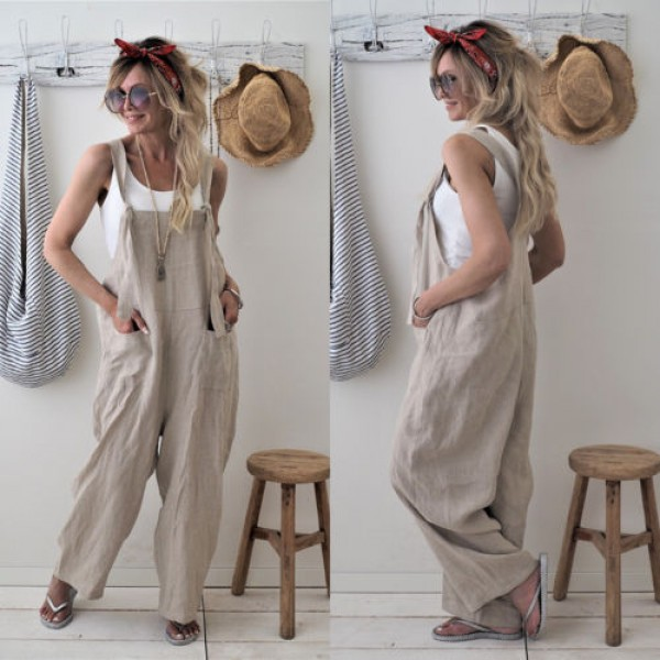 Women Loose Linen Solid Pockets Jumpsuit Overalls Wide Leg Cropped Pants