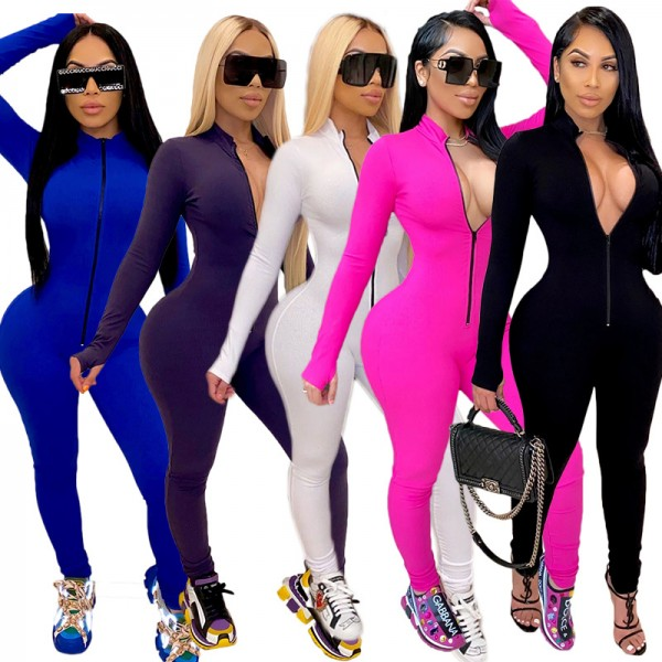 Womens Long Sleeve Deep V Rompers Jumpsuit Sport Suit Overalls Fitness Set