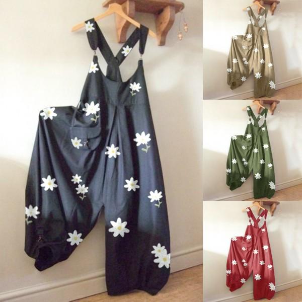 Woman Floral Print Jumpsuit O-Neck Daisy bodysuit Pocket Playsuit Long Jumpsuit