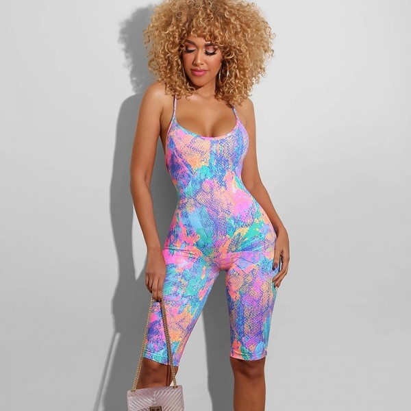 Tie Dyeing Print Backless Jumpsuit New Women Sleeveless Strap Playsuit Shorts