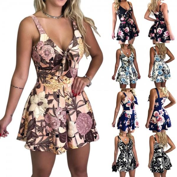 Women Summer Print Jumpsuit Loose V-neck Beach Rompers Sleeveless Bodycon Shorts