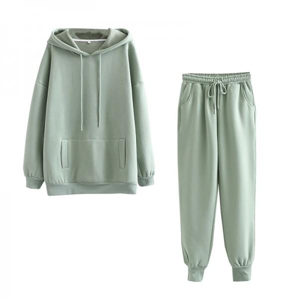Winter Women tracksuit thick fleece 100% cotton suit 2 pieces sets hoodies sweatshirt