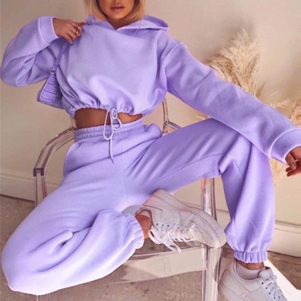Women Sports 2 Pieces Set Sweatshirts Pullover Sweatpants Trousers Outfits Tracksuit