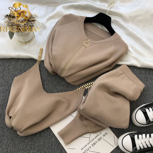 Women Zipper Knitted Cardigans Sweaters + Pants Sets + Vest Jumpers Trousers 2 PCS Outfit