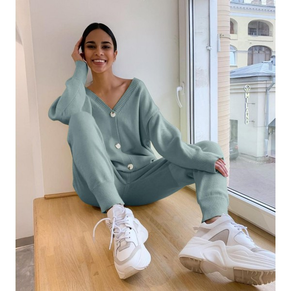 Women Knitted Tracksuit Turtleneck Sweater Suit 2 Piece Set  Sporting Suit
