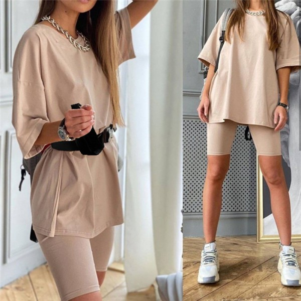 Solid Outfits Women's Two Piece Suit Belt Loose Sports Tracksuits Leisure Bicycle Suit
