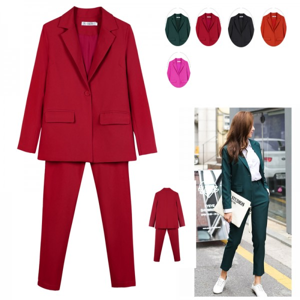 Women Business Interview Suit Set Uniform Smil Blazer Pencil Pant Office Lady suit