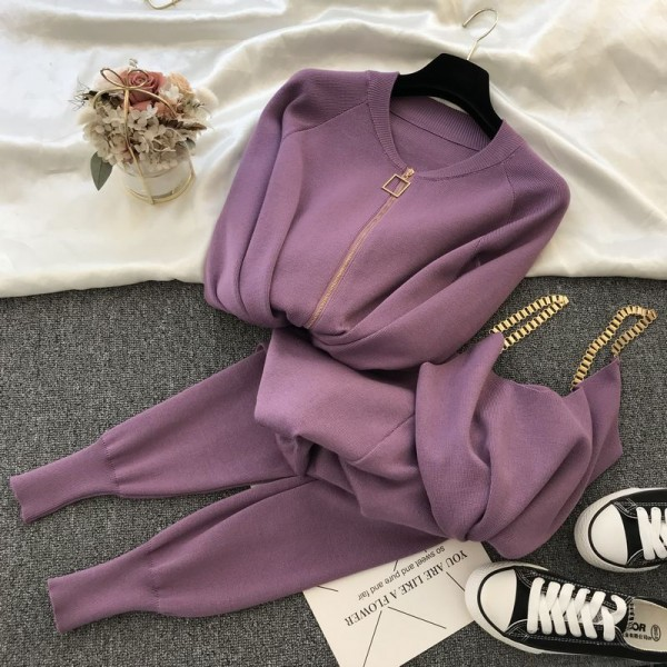 Autumn Knitted Women Sets Solid Sexy Vest Long Sleeve Zipper Cardigans Elastic Waist Pants 3pcs Sets Tracksuits Clothing