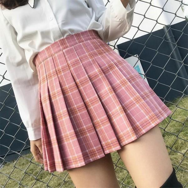 QRWR XS-3XL Plaid Summer Women Skirt High Waist Stitching Student Pleated Skirts Women Cute Sweet Girls Dance Mini Skirt