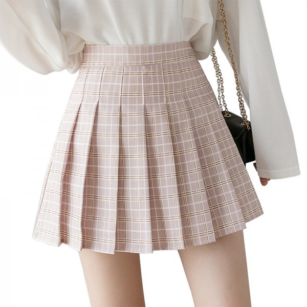QRWR Summer Women Skirts New Korean High Waist Plaid Mini Skirt Women School Girls Sexy Cute Pleated Skirt with Zipper