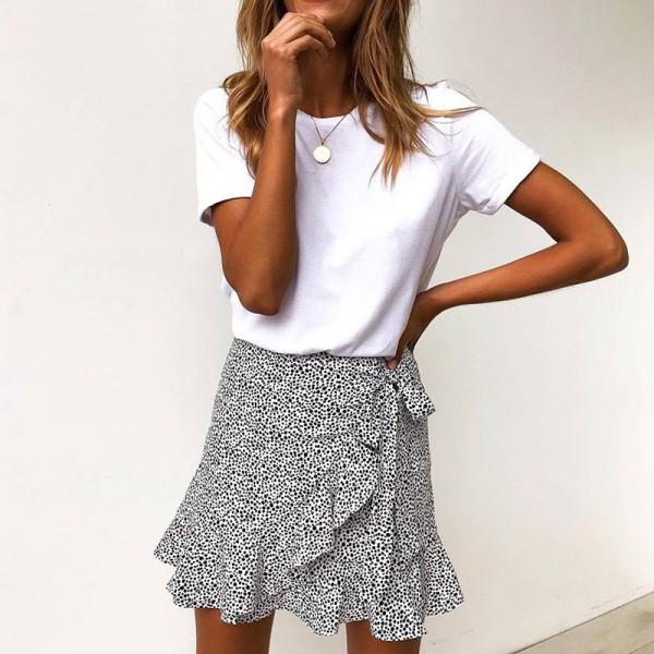 Multi Dot Print Short Mini Skirts Women Summer Ruffle High Waist Bow Tie Skirt Ladies Streetwear Slim Bottoms Saias