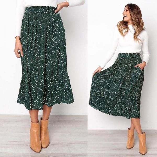 White Dots Floral Print Pleated Midi Skirt Women Elastic High Waist Side Pockets Skirts Summer Elegant Female Bottom