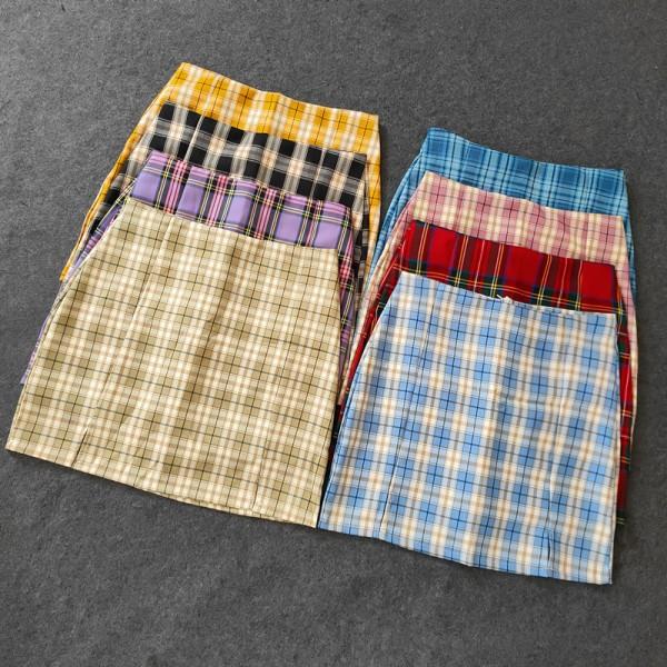 Summer Harajuku Plaid Pencil Skirts Womens High Waist Mini Skirts Lining With Shorts korean Streetwear Vintage Sexy Skirt