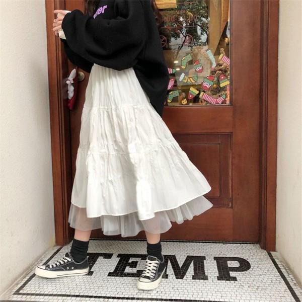 Long Tulle Midi Skirts Womens Autumn Elastic High Waist Mesh Tutu Pleated Skirts Female Black White Long Skirt Streetwear