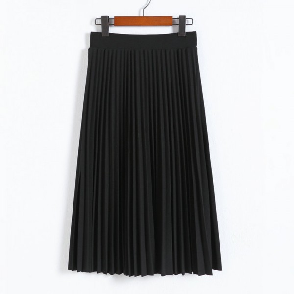 Spring and Autumn New Fashion Women's High Waist Pleated Solid Color Half Length Elastic Skirt Promotions Lady