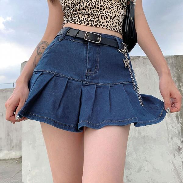 Harajuku Punk Y2K Denim Mini Pleated Skirt Ladies Summer High Waist Jeans Shorts Skirts Women Ruffles Fashion Korean