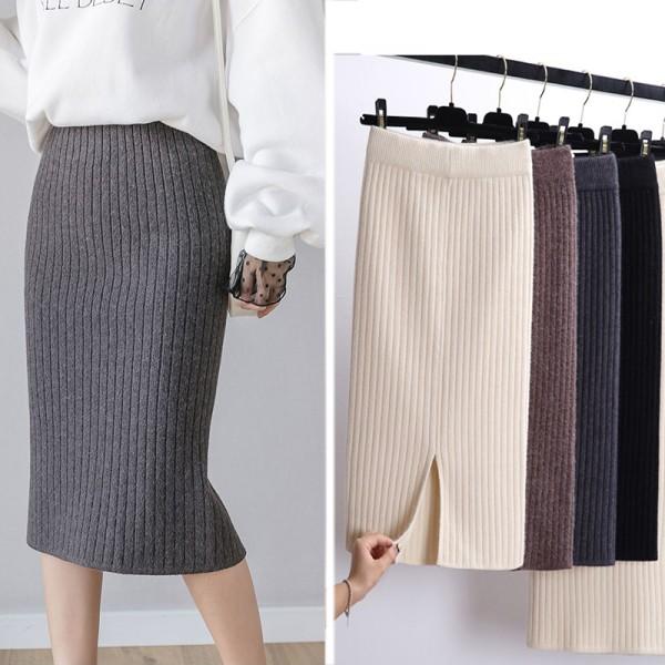 Women Office Skirt Spring autumn Sexy Warm Knitted Black Pencil Skirts Ladies High Waist Elegant Long Skir Party Club Skirt