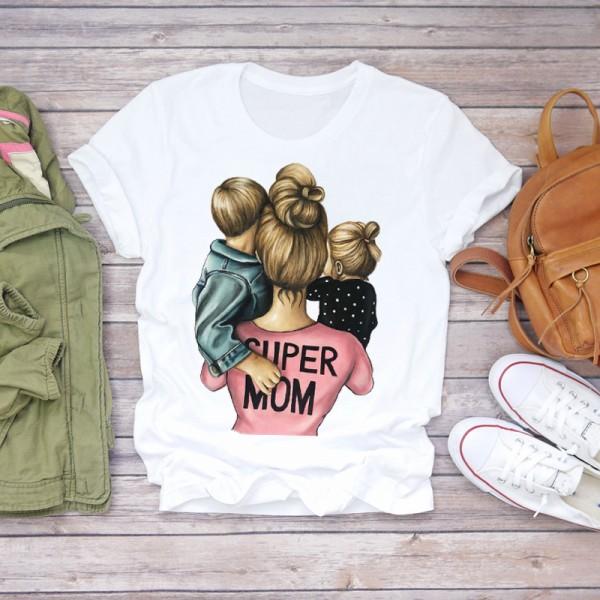 Cartoon Super Momlife Print Lady T-shirts T Shirt Womens Graphic T-Shirt