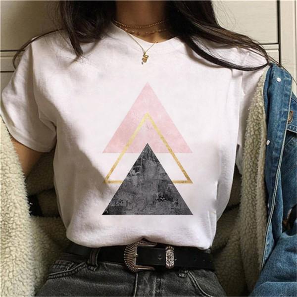 Geometry Printed T Shirt Women Graphic T-shirt Cute Short Sleeve Animal Tshirt