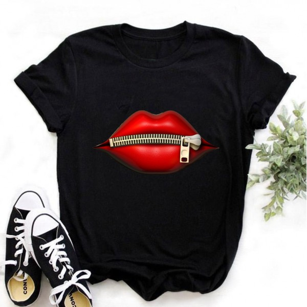Women Plus Size Tops Graphic Tees Lips Kawaii T-shirt Clothes Girl Mouse T Shirt