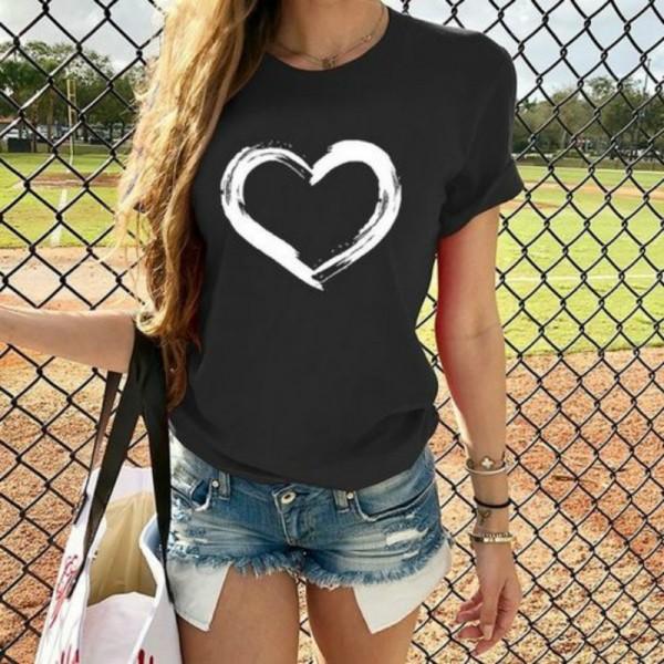 Heart Print T Shirt Women Short Sleeve O Neck Loose Camisetas Mujer Tshirt Tops