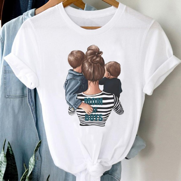 Women Striped Boys Cute Mom Crown Mother Clothes Graphic Tee T-Shirt