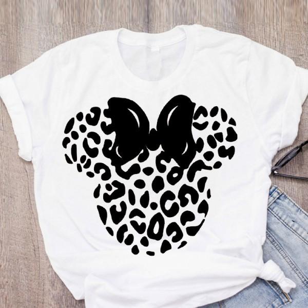 Women T-shirt Cartoon Leopard Bow T-shirt Short Sleeve Print Tops Graphic T-shirt
