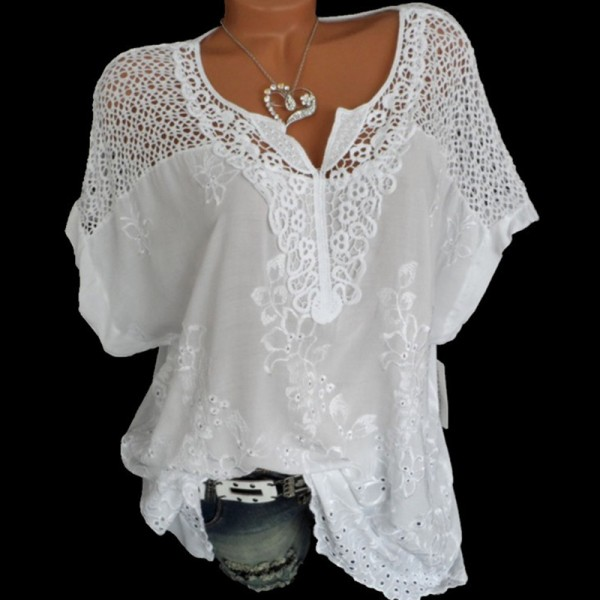 Summer Short Sleeve Womens Blouses Tops Loose Lace Shirt Plus Size Women Tops