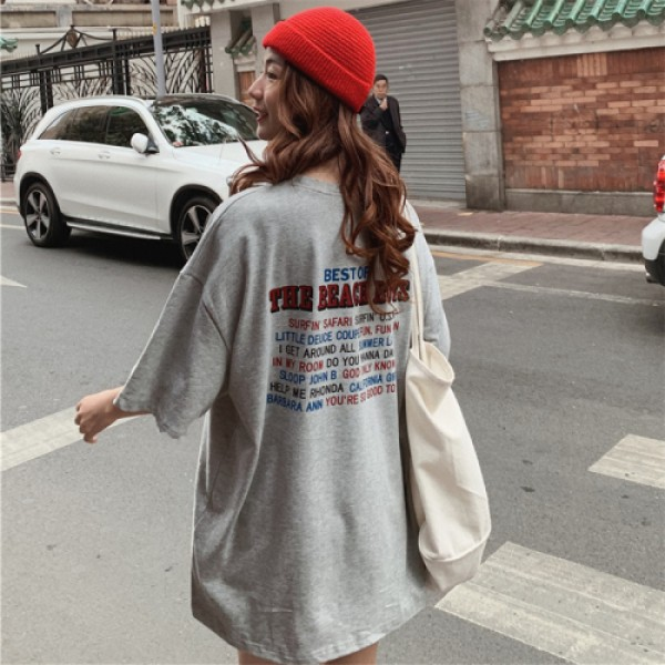 Casual Loose Basic Letter Printed All Match Oversize Wind Street Women Short T-shirts