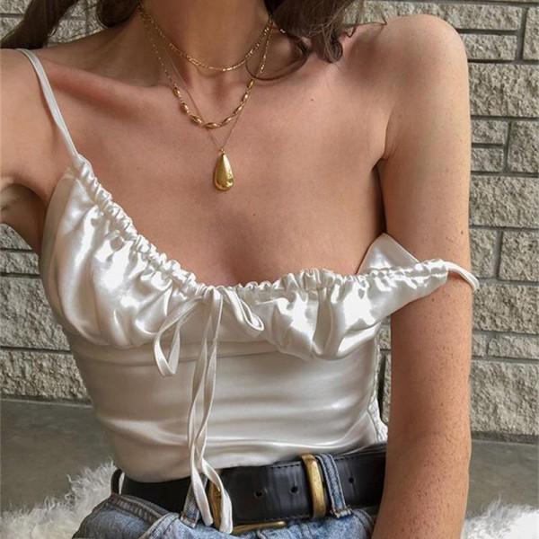 Elegant Lace Up Chiffon Crop Tops Women Camisole Top Tees Shirt Vintage Tshirt