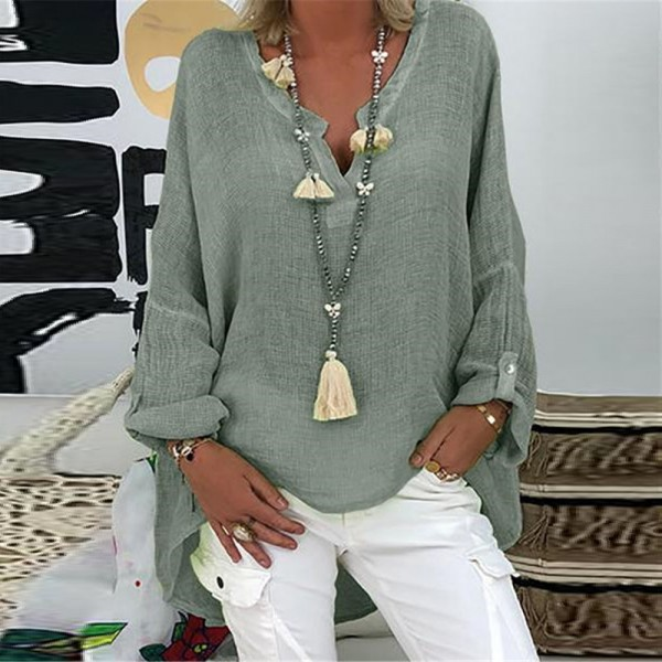 Women Long Sleeve Linen Loose V Neck Print Irregular Shirt Vintage Oversized Tops
