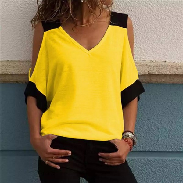 Women Patchwork Cold Shoulder T-shirt Plus Size Tops V-Neck Half Sleeve Tee Shirt