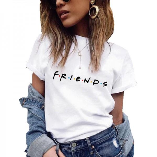 Friends Printing T Shirt Summer Women Short Sleeve Leisure Top Tee Casual Ladies Female T Shirts  Woman Clothing