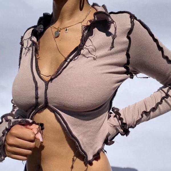 Nibber Autumn Patchwork Broken Design Mesh Crop Top For Women Sexy Punk Style Long Sleeve T-shirt Street Casual Wear Tees