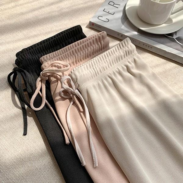 Soft Women Pants New High Waist Casual Slacks Pants Ice Silk Ankle-Length Long Trousers