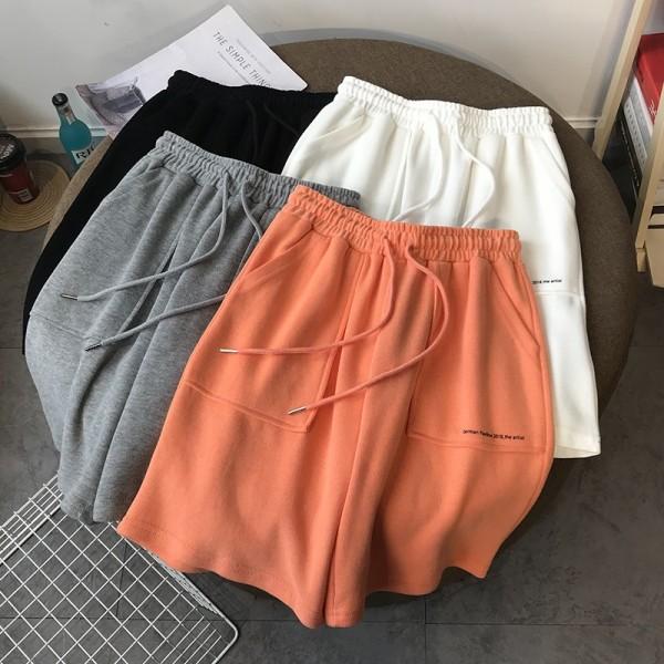 High Waist Wide Leg Short Pants Women Knee Length Pants Drawstring  Cotton Loose Trousers