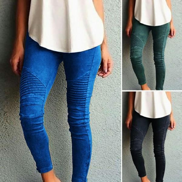Women Fashion Solid Color Elastic Waistband Slim Skinny Pencil Pant Trouser