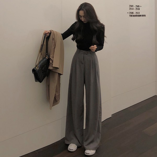Spring Autumn Female Solid Wide Leg Pants  Ladies High Quality simple Casual Straight Pants