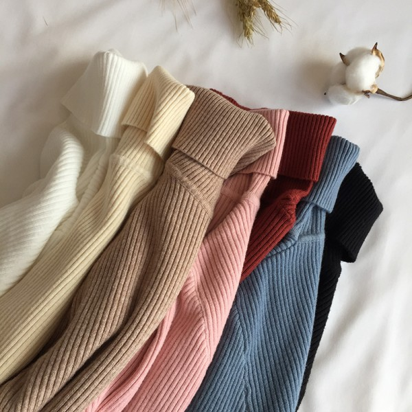 Thick Women Knitted Ribbed Pullover Sweater Long Sleeve Turtleneck Jumper