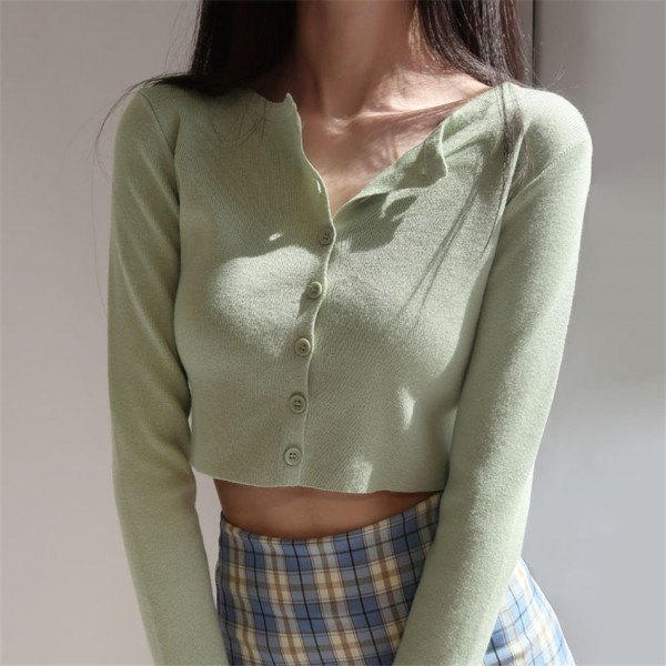 Women Fashion Style O-neck Short Knitted Sweaters Sleeve Sun Protection Crop Top