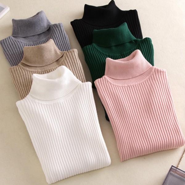 On Sale Spring Summer Pullover Women Knitted Foldover Turtleneck Sweater Coat