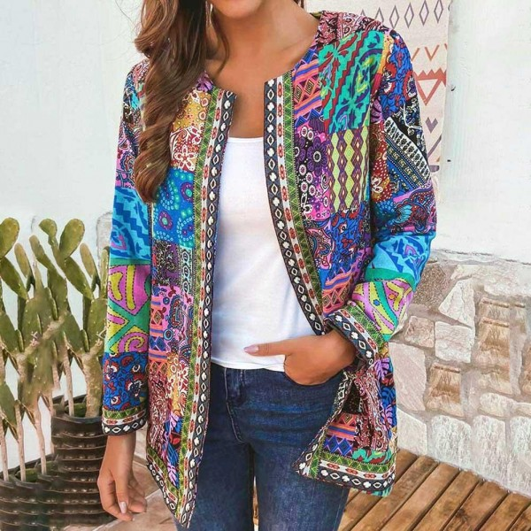 Women Fashion Ethnic Floral Print Long Sleeve Jacket Coat Cardigan Loose Outerwear Chic Top