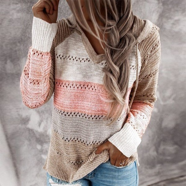 Women Patchwork Hooded Sweater Long Sleeve V-neck Knitted Sweater New Female Hoodies