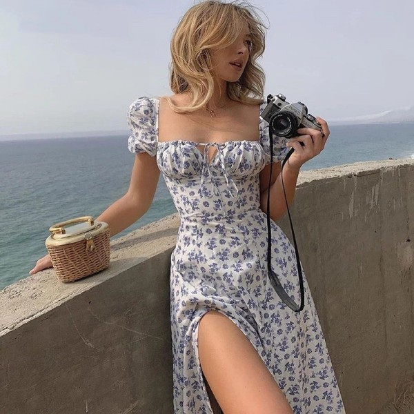 Women Sleeve Flroal Printed High Split Long Dresses Drawstring Sexy Sundress