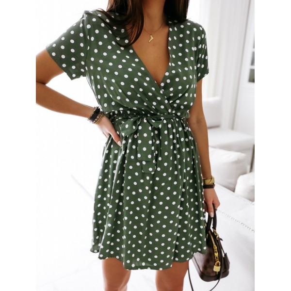 Summer Fashion Mini Dress Short Sleeve V-Neck