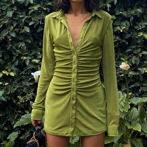 Women Sexy Mini Slim Dress Turn-Down Collar Button Short Dresses