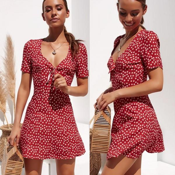 Fashion Women Short Sleeve Wrap Boho Floral Mini Dress